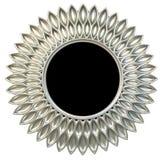 A forma redonda de prata moderna do sol ou da flor do quadro do espelho isolou o fundo branco foto de stock