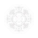 Forma redonda del vector, construcción técnica con Fotografía de archivo