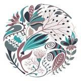Forma redonda floral Flor criativa tirada mão no círculo Fundo artístico colorido com flor Erva abstrata ilustração royalty free