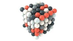 Forma reflexiva multicolora de las esferas que un cubo 3d rinde Stock de ilustración