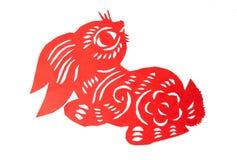 Forma roja del conejito del corte del papel chino Fotografía de archivo