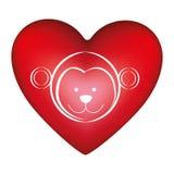forma roja del corazón con el animal lindo del mono de la cara de la silueta libre illustration