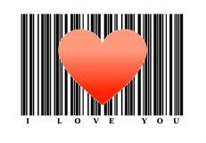 Forma roja del corazón en código de barras Concepto del amor Foto de archivo