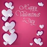 Forma rosa del cuore di amore di Valentine Day Gift Card Holiday Fotografia Stock Libera da Diritti