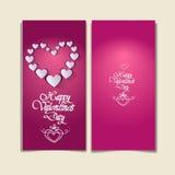 Forma rosa del cuore di amore di Valentine Day Gift Card Holiday Fotografia Stock