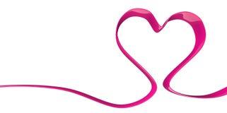 forma rosa porpora di forma del cuore del nastro elegante 3D su un fondo bianco Fotografia Stock