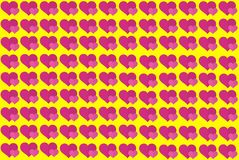 Forma rosada del corazón en fondo amarillo Corazones Dot Design Puede ser utilizado para los artículos, impresión, propósito del  stock de ilustración