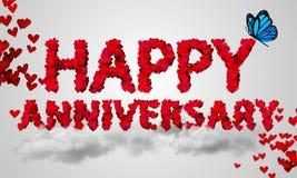 Forma rossa 3D del cuore di anniversario felice Fotografia Stock