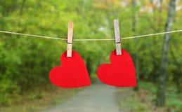 Forma rossa del cuore che appende, sopra lo sfondo naturale Fotografie Stock Libere da Diritti