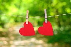 Forma rossa del cuore che appende, sopra lo sfondo naturale Fotografia Stock