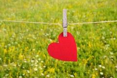 Forma rossa del cuore che appende, sopra lo sfondo naturale Immagine Stock