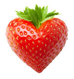 Forma rossa del cuore della fragola della bacca Immagine Stock Libera da Diritti
