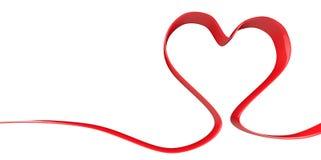 forma rossa di forma del cuore del nastro elegante 3D su un fondo bianco Fotografie Stock Libere da Diritti