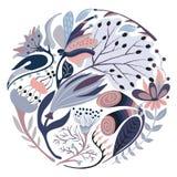 Forma rotonda floreale Fiore creativo disegnato a mano nel cerchio Fondo artistico variopinto con il fiore Erba astratta illustrazione vettoriale