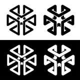 Forma simples do preto do quadro do cubo 3d ilustração stock