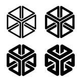 Forma simples do preto do quadro do cubo 3d ilustração royalty free