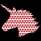 Forma simples, silhueta do unicórnio mágico no branco no fundo preto com elemento vermelho do fundo dos corações do amor Imagem de Stock Royalty Free