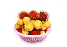 Forma Tailandia de la fruta del Longan y del rambutan imagen de archivo libre de regalías