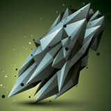 Forma tecnologica spaziale di contrasto, oggetto poligonale del wireframe Fotografia Stock