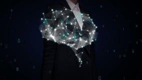 A forma tocante da mulher de negócios do cérebro conecta as linhas digitais, expandindo a inteligência artificial 2
