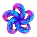 A forma torcida abstrata holográfica no projeto fluido 3D rende ilustração stock