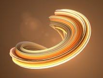 Forma torcida anaranjada 3D geométricos abstractos generados por ordenador rinden el ejemplo Fotos de archivo libres de regalías