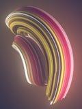 Forma torcida coloreada 3D geométricos abstractos generados por ordenador rinden el ejemplo Imágenes de archivo libres de regalías