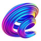 Forma torcida 3d colorida de néon e holográfica ilustração do vetor