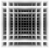 Forma tridimensional - cuadrados blancos y negros Imagen de archivo