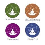 Forma umana di yoga nel simbolo astratto del loto Fotografia Stock Libera da Diritti