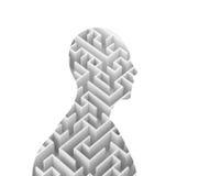Forma umana e labirinto su fondo bianco, rappresentazione 3d Fotografia Stock