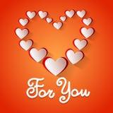 Forma Valentine Day Greeting Card For del cuore di amore voi Fotografie Stock