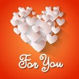 Forma Valentine Day Greeting Card For del cuore di amore voi Immagine Stock Libera da Diritti