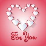 Forma Valentine Day Greeting Card For del cuore di amore voi Fotografie Stock Libere da Diritti