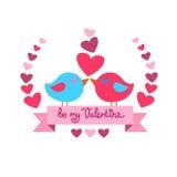 Forma Valentine Day Red del cuore di bacio di due uccelli Fotografie Stock Libere da Diritti