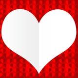 Forma vazia branca do coração em um fundo vermelho Fotos de Stock Royalty Free