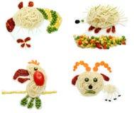 Forma vegetal creativa de la abeja de la cena de la comida Imagen de archivo libre de regalías