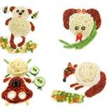 Forma vegetal creativa del oso de la cena de la comida Fotografía de archivo libre de regalías