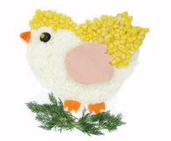 Forma vegetal creativa del pájaro de la cena de la comida Imagen de archivo libre de regalías