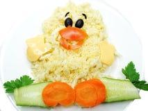 Forma vegetal creativa del pájaro de la cena de la comida Fotografía de archivo