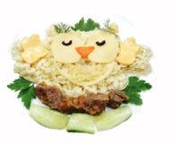 Forma vegetal creativa del pájaro del búho de la cena de la comida Fotos de archivo