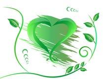 Forma verde del corazón aislada Fotos de archivo