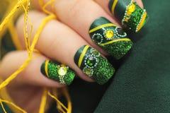 Forma verde del quadrato del manicure Fotografie Stock