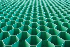 Forma verde do aço do hexágono imagem de stock