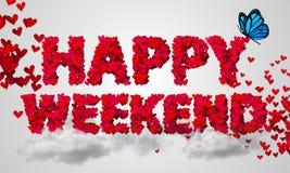 Forma vermelha 3D do coração das partículas felizes do fim de semana Fotografia de Stock Royalty Free