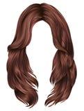 Forma vermelha da beleza das cores de cobre dos cabelos longos na moda da mulher 3d realístico Imagem de Stock