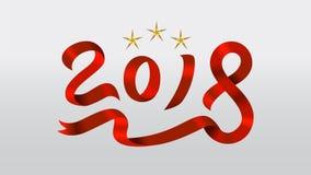 Forma vermelha da fita de 2018 Foto de Stock Royalty Free