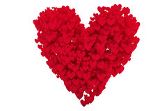 forma vermelha do coração com corações foto de stock