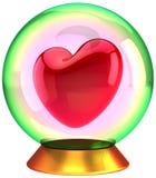 Forma vermelha do coração dentro do globo de cristal Fotografia de Stock Royalty Free