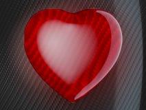 Forma vermelha do coração na fibra do carbono Fotos de Stock Royalty Free